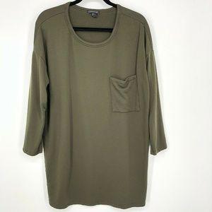 Eileen Fisher Green 3/4 Sleeve Pocket Tunic Dress
